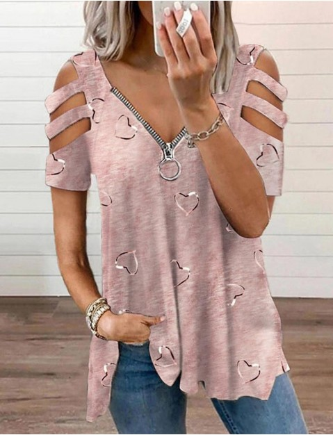Women's Blouse Eyelet top Shirt Graphic Heart Cut Out Zipper V Neck Basic Casual Tops Loose   Purple Blushing Pink