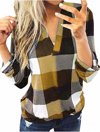 women roll up long sleeve fl nel plaid shirt pullover sexy v neck slim tops casual loose boyfriend tunic t shirts blouses gold