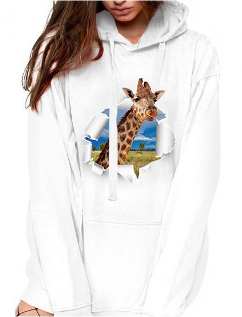 Women's Hoodie Pullover Cartoon Graphic Giraffe Front Pocket Daily Basic Casual Hoodies  shirts  White
