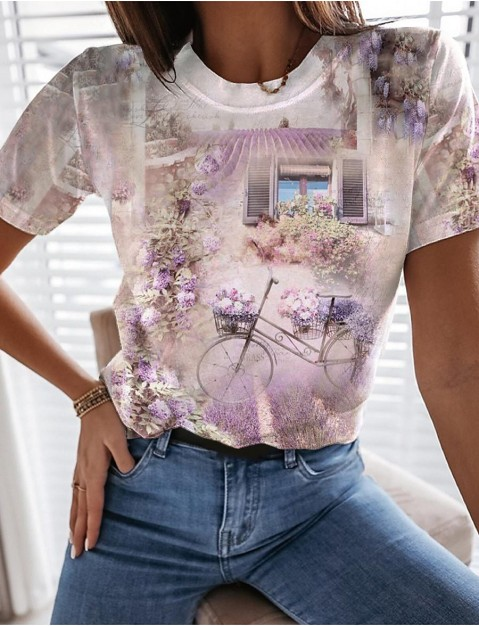 Women's Floral  me 3D Printed Painting T shirt Floral Graphic Scenery Print Round Neck Basic Tops Purple