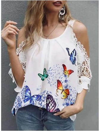 Women's Blouse Eyelet top Shirt Graphic Butterfly Lace Trims Print U Neck Basic Streetwear Tops   Yellow Green