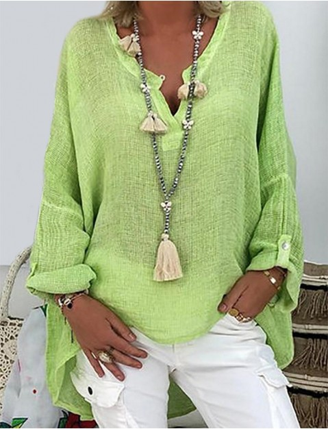 Women's Blouse Shirt Long Sleeve Solid Colored V Neck Button Basic   Loose Blushing Pink Green White