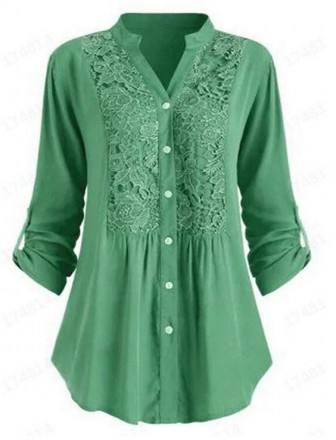 Women's Blouse Eyelet top Peplum Solid Colored Long Sleeve Round Neck   Purple Gray Green