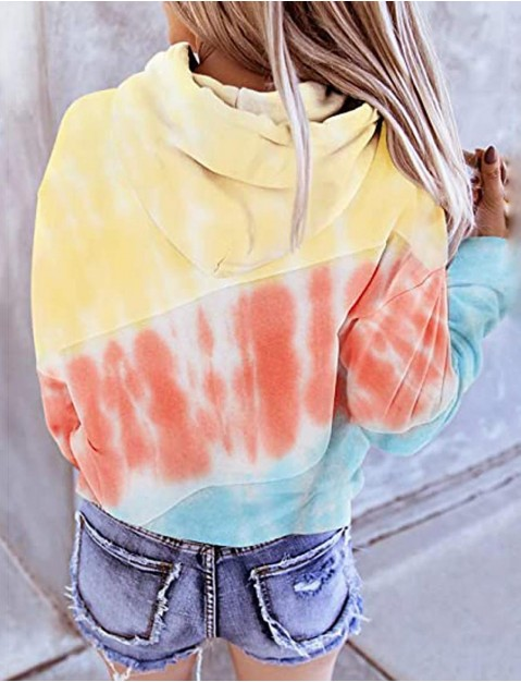 Women's Hoodie Pullover Tie Dye Hoodie Color Block   Athleisure Hoodie Top Long Sleeve Warm Soft Oversized Comfortable Plus Size Everyday Use Daily Exercising / Winter