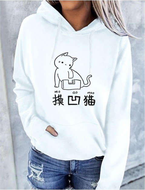 Women's Cat Graphic Text Hoodie Pullover Front Pocket Print Daily Basic Casual Hoodies  shirts  White Black