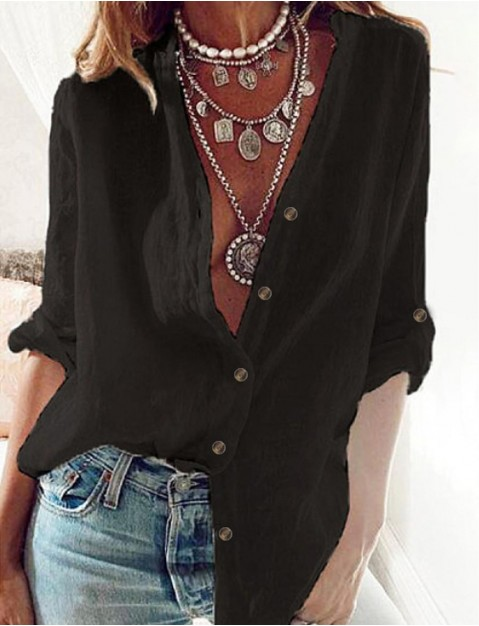 Women's Blouse Shirt Solid Colored Long Sleeve St ing Collar Basic Tops Cotton White Black Blue