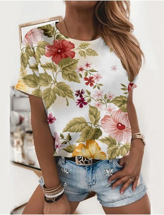 Women's Floral  me Painting T shirt Floral Flower Print Round Neck Basic Tops White Red