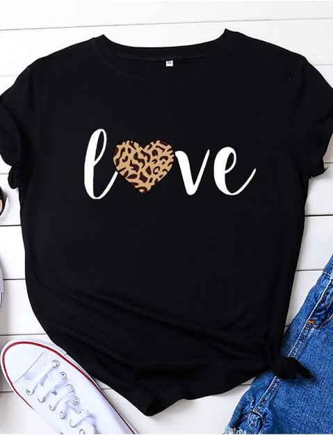 woffccrd womens valentine's day shirts leopard heart love t-shirts xoxo printed  ny graphic tees tops (m,red)