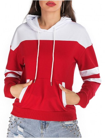 Women's Daily Hoodie Color Block Basic Streetwear Hoodies  shirts  Cotton Loose Red