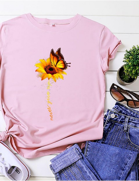 flower printed round neck t-shirt ladies casual cotton shirts summer short sleeve top tee m sky blue